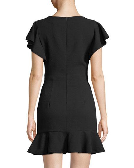 Black Halo Lynn Flouncy Scoop-Neck Mini Dress