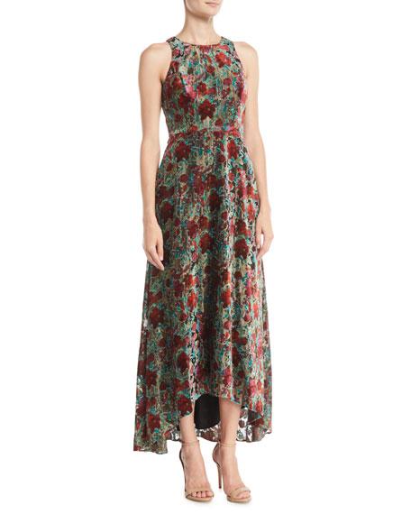 Aidan by Aidan Mattox Velvet Burnout Halter Gown Dress