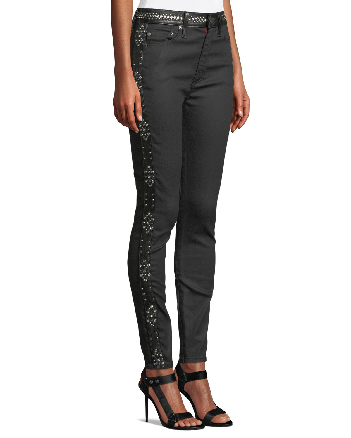 2db8aca2fd0e ALICE + OLIVIA JEANS Good High-Rise Studded Ankle Skinny Jeans ...