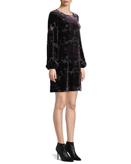 Aidan Mattox Burnout Velvet Mini Dress w/ Long Sleeves