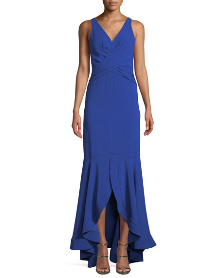 Shoshanna Montague V-Neck Gown w/ High-Low Hem