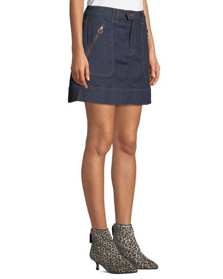 7 For All Mankind Clean Utility Denim Mini Skirt