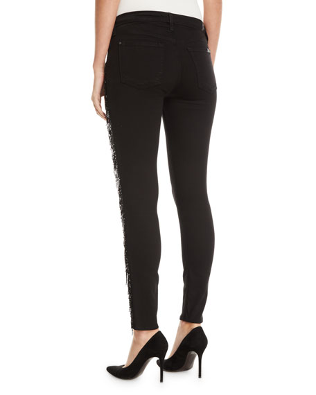 7 For All Mankind The Ankle Skinny Jeans with Metallic Fringe