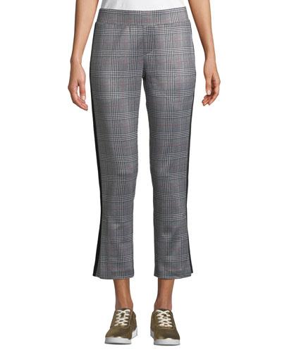 Glen Plaid Cropped Side-Stripe Track Pants