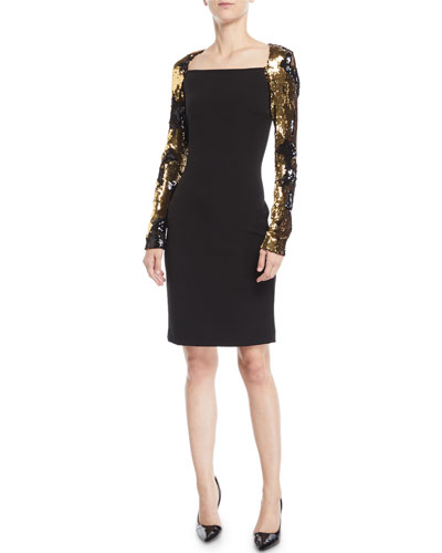 Sequin Long-Sleeve Dress