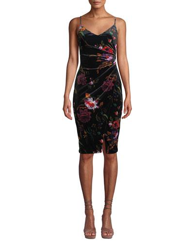 Bowery Ruched Floral Velvet Dress