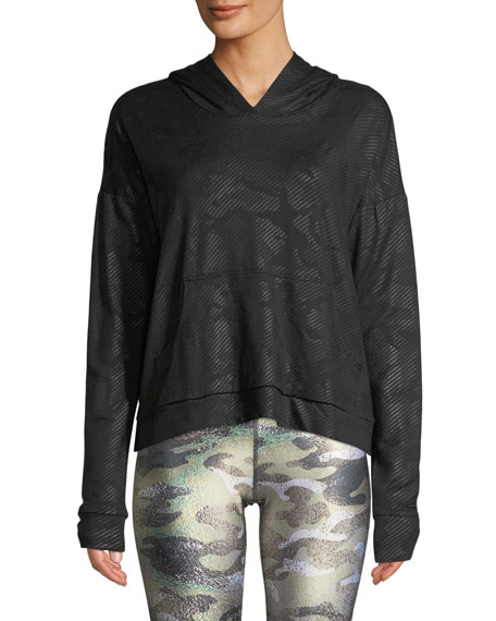 Image 1 of 2: Terez Camo Foil Printed Cross-Back Hoodie Sweatshirt