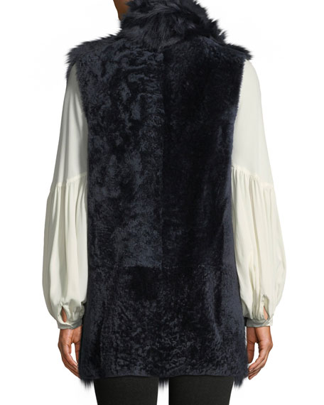 Gushlow and Cole Mid-Length Reversible Shearling & Leather Vest