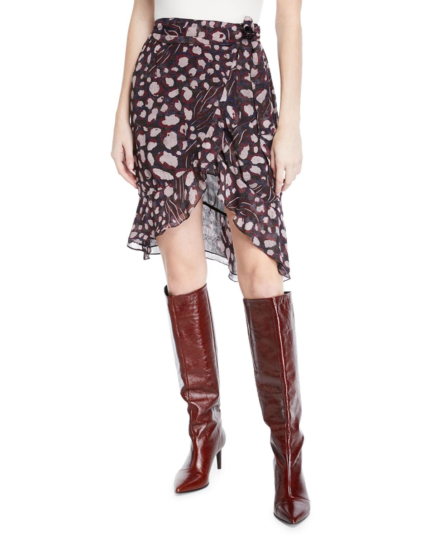 Lingo Printed High-Waist Wrap Skirt