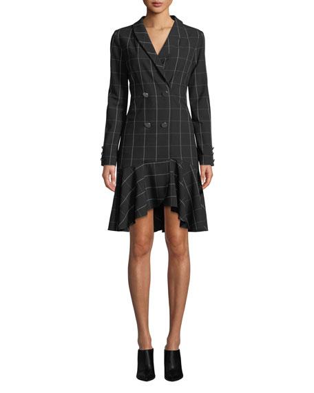 Shoshanna SLOAN LONG-SLEEVE DOUBLE-BREASTED PLAID DRESS