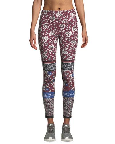 whimsy bi-stripe floral leggings