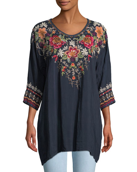 Johnny Was Shaylee 3/4-Sleeve Embroidered Blouse, Petite