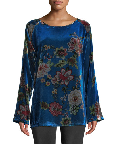 Karmen Long-Sleeve Floral-Print Velvet Tunic, Petite