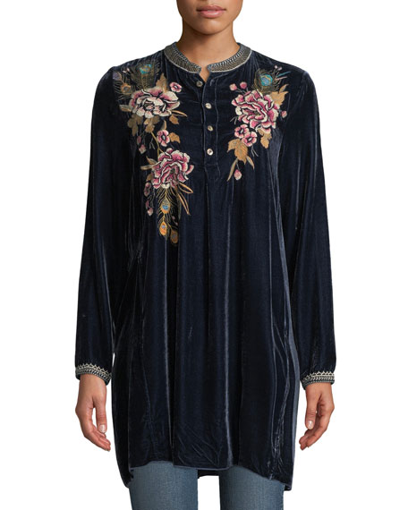 Johnny Was Quito Velvet Trapeze Tunic, Plus Size
