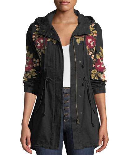 Mehdi Hooded Drawstring-Waist Embroidered Coat, Petite