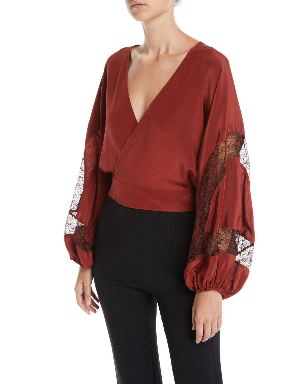 f59fc60f09f913 Elizabeth   James Talia Silk Wrap Top with Lace Inserts