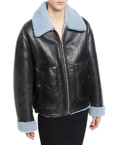 Reversible Leather Shearling Aviator Jacket