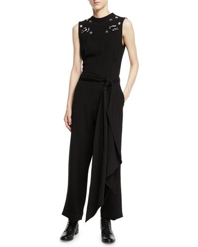 Deco Embellished Crepe Sleeveless Jumpsuit