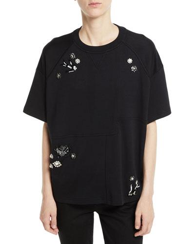 Embellished Short-Sleeve Graphic Sweatshirt