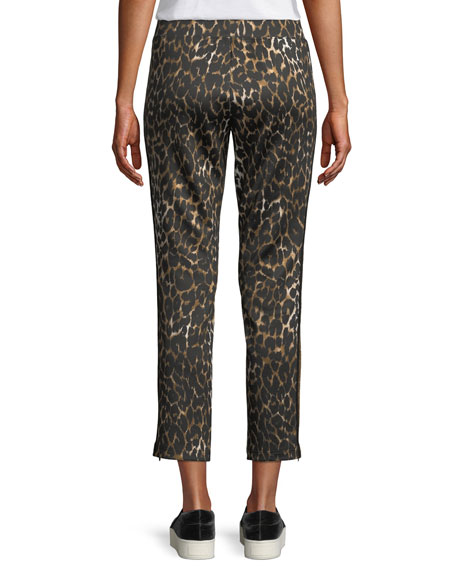 Leopard-Print Cropped Side-Stripe Track Pants