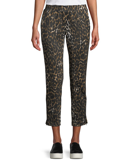 PAM & GELA LEOPARD-PRINT CROPPED SIDE-STRIPE TRACK PANTS