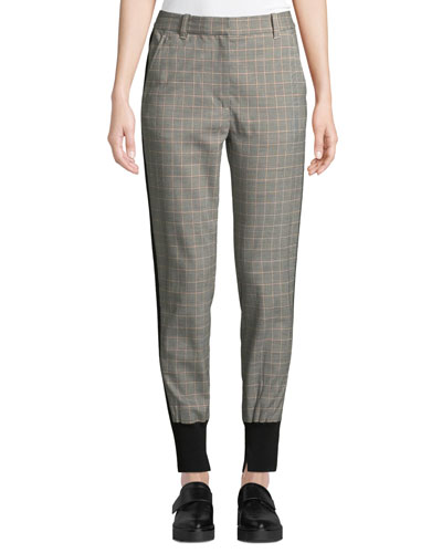 Checked Wool/Cotton Jogger Pants