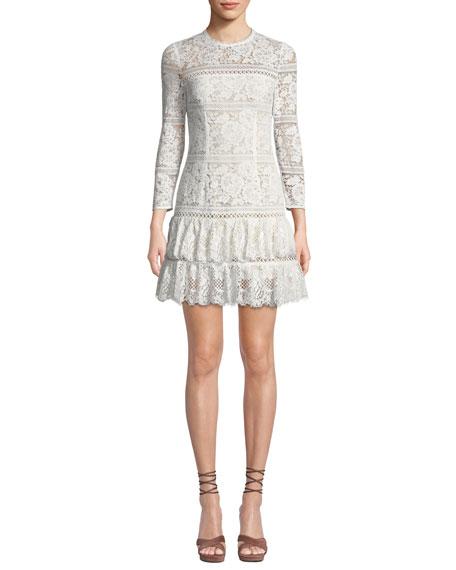 Aijek Melanie Fit-and-Flare Mini Dress in Lace