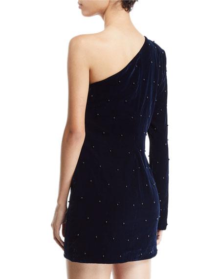 RtA Edie Velvet One-Shoulder Embellished Dress