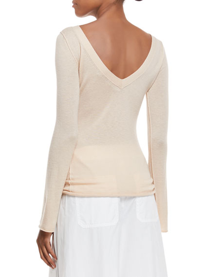 Fitted Cashmere V-Back Top