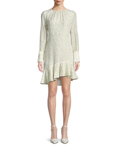 Derek Lam 10 Crosby Long-Sleeve Metallic Ruffle-Hem Short