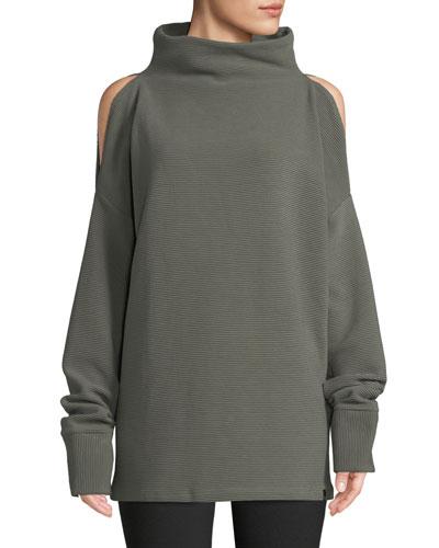 Hampton Cold-Shoulder Cotton Sweatshirt