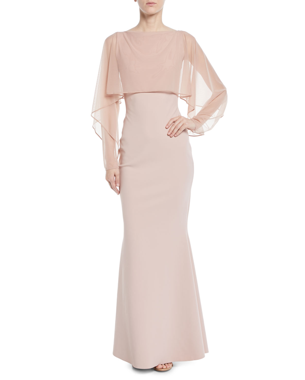 1aec437af51 Chiara Boni La Petite Robe Nomeda Illusion Gown w  Mesh Capelet ...