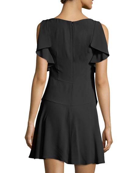 Flutter-Sleeve Summer Crepe Dress