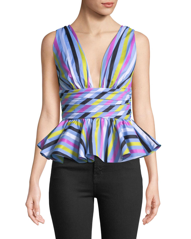 48cbeb4b8340d4 Caroline Constas Paros Striped Sleeveless Peplum Top