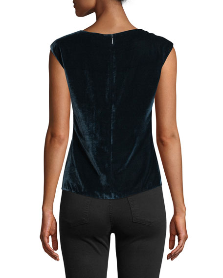 Image 2 of 4: Rebecca Taylor Velvet Ruched Sleeveless Top
