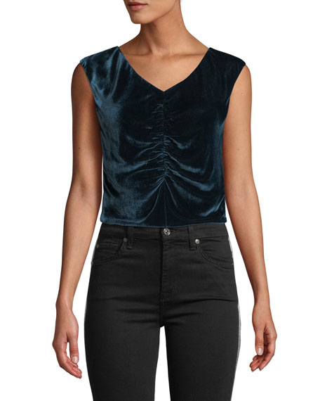 Image 3 of 4: Rebecca Taylor Velvet Ruched Sleeveless Top