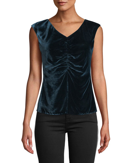 Image 1 of 4: Rebecca Taylor Velvet Ruched Sleeveless Top