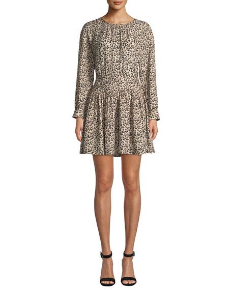 Rebecca Taylor Long-Sleeve Silk Leopard-Print Short Dress