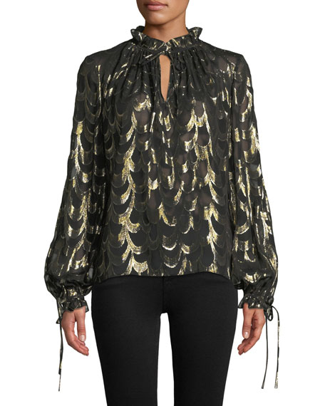 Milly Jenny Long-Sleeve Metallic Silk Chiffon Top