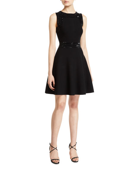 Milly Jewel-Neck Sleeveless Embellished Fit-and-Flare Mini Dress