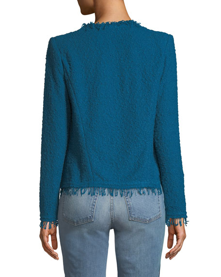 Image 2 of 2: Shavani Frayed Boucle-Knit Jacket