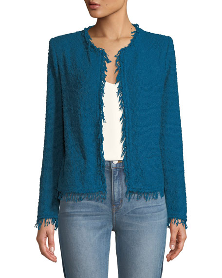 Image 1 of 2: Shavani Frayed Boucle-Knit Jacket