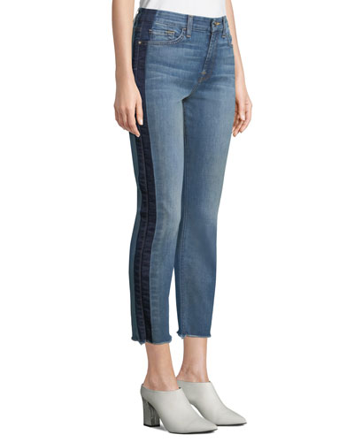 Straight-Leg Crop Jeans w/ Shadow Seams