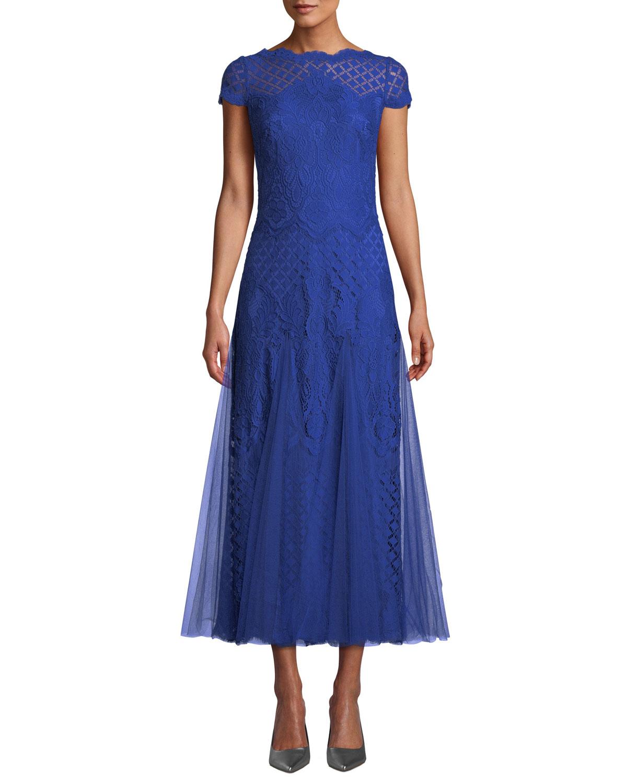 bb2c37fda509 Tadashi Shoji Roone Tea-Length Dress w/ Tulle Skirt | Neiman Marcus
