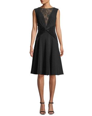 c0fd680745 Tadashi Shoji Sleeveless Jersey Pintuck Dress w  Lace