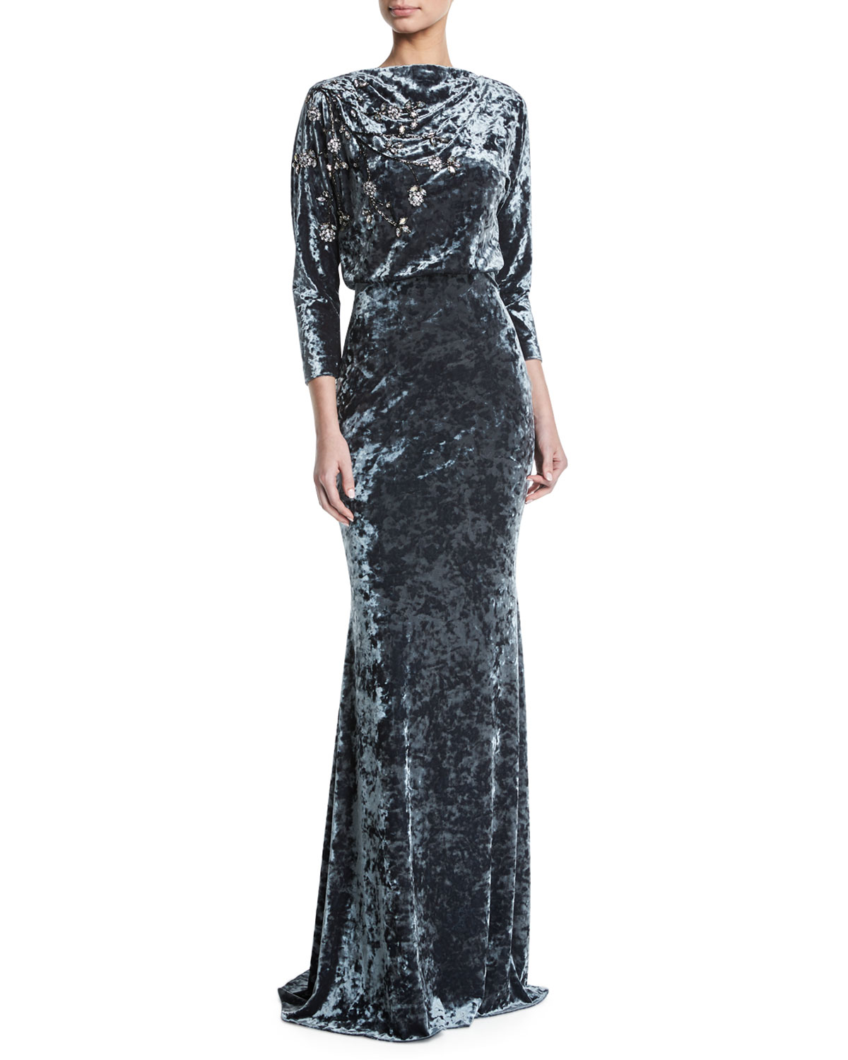 Badgley Mischka Collection Long-Sleeve Blouson-Top Beaded Crushed ...