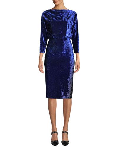 Blouson Dress in Ombre Velvet