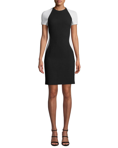 NK32 Naeem Khan Colorblock Short-Sleeve Cocktail Dress