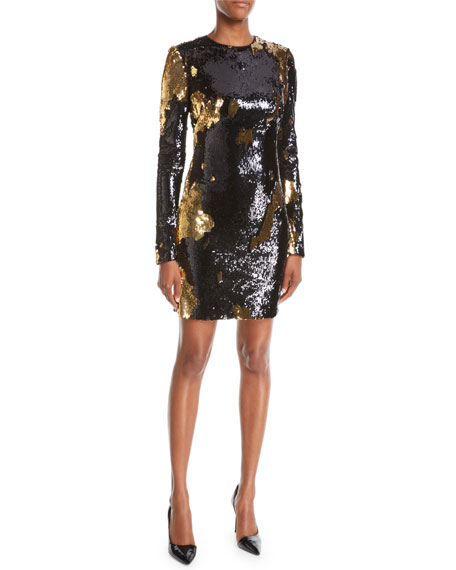 Nk32 Naeem Khan Long Sleeve Sequin Mini Dress In Blackgold Modesens