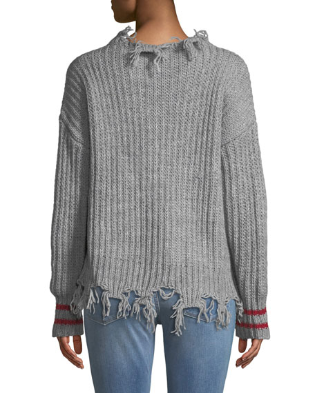 Destroyed Pullover Sweater w/ Striped Cuffs